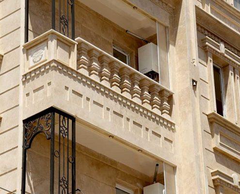 نمای بیرونی ساختمان با سنگ تراورتن